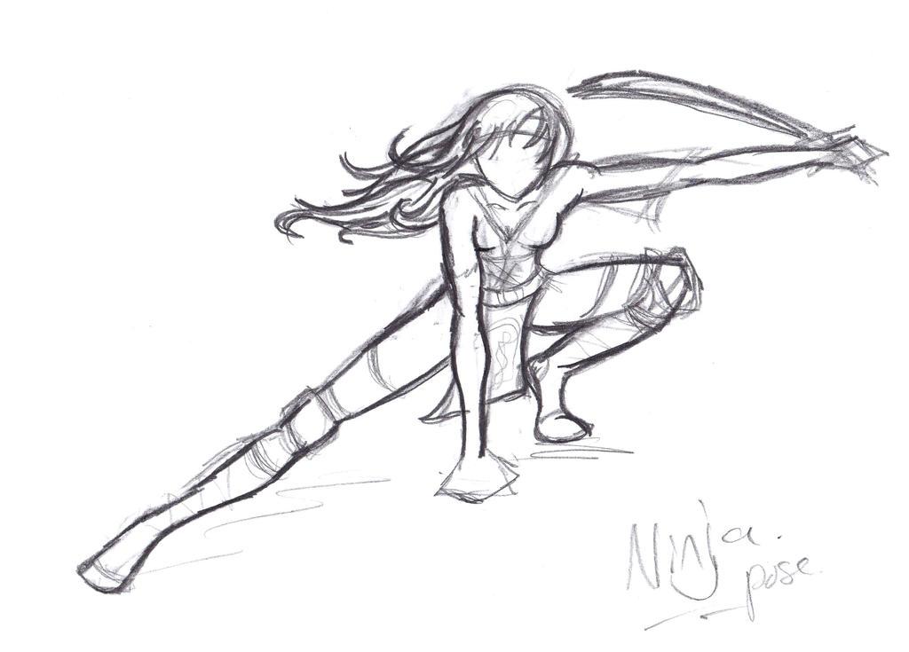 Line Art Ninja : Pose ninja by reset on deviantart