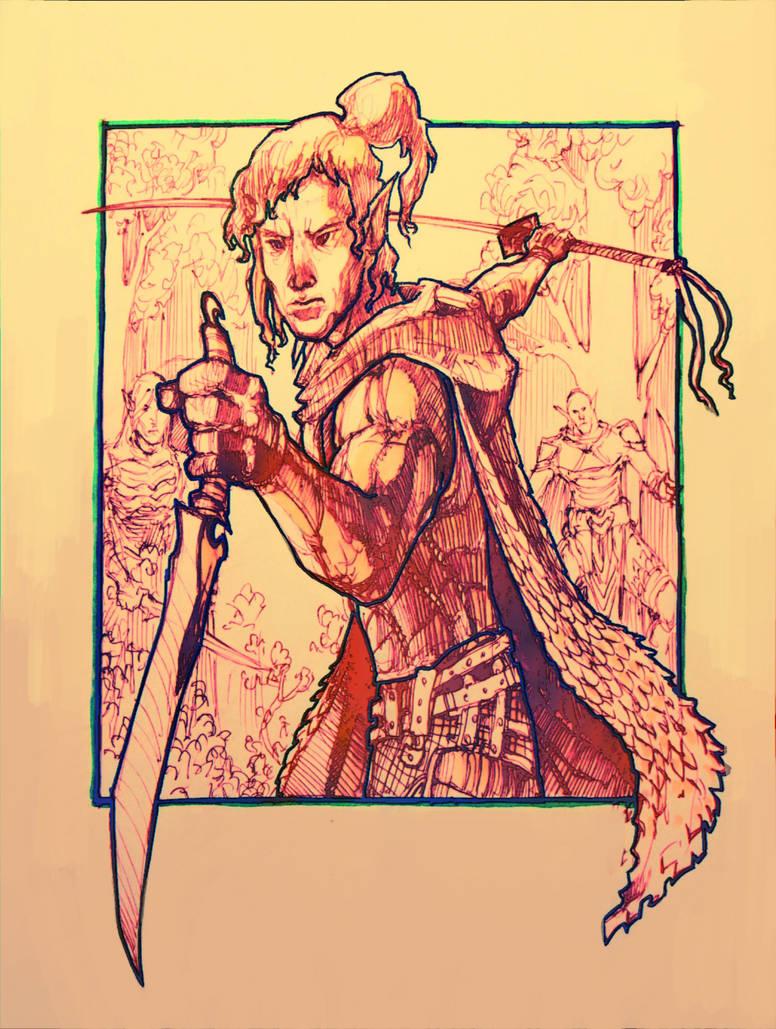 Elven Sword Dancer by moorkasaur