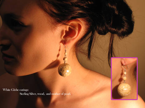 White Globe Earings