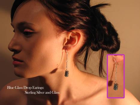 Blue Glass Earings