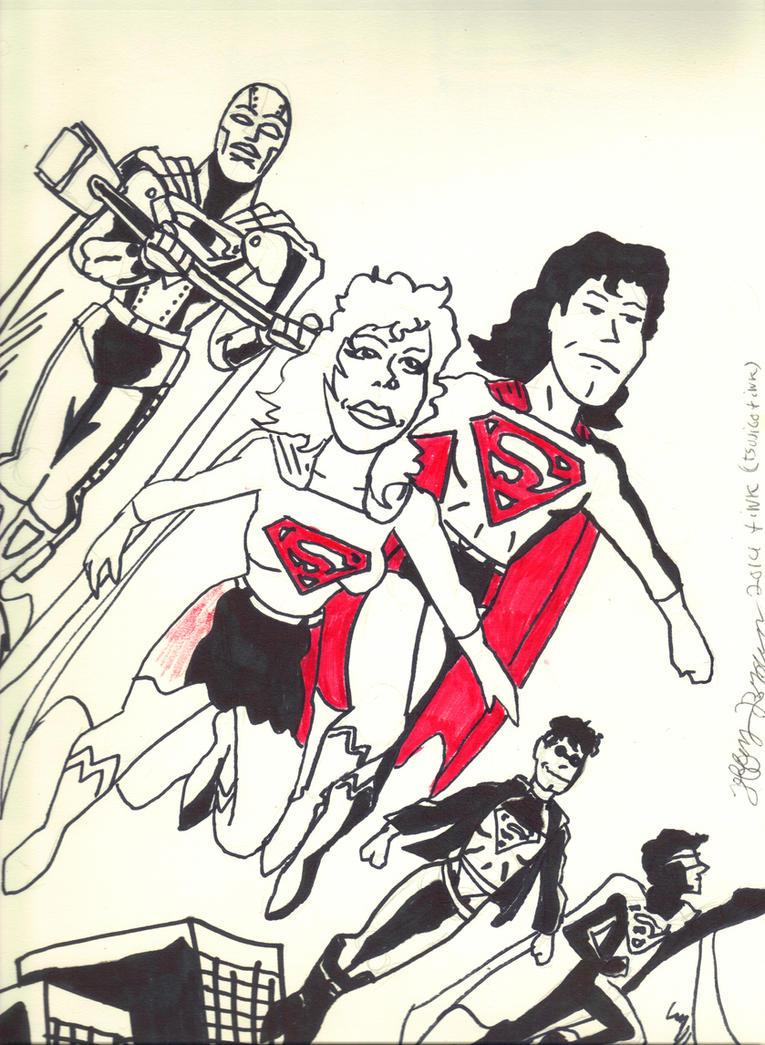 the 90s Superman Family  by tsujigo