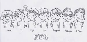 BTS Chibi sketch by YellowHaruka