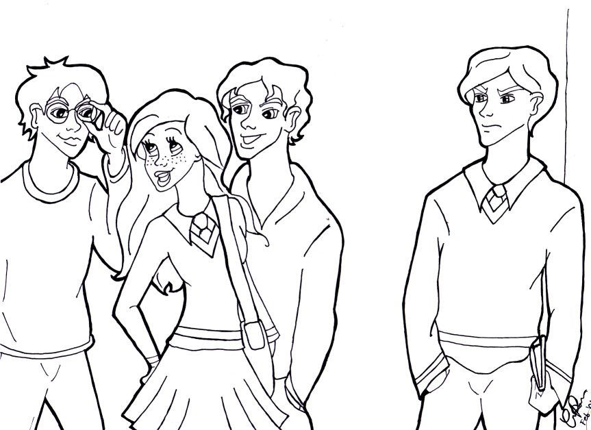 draco ginny harry and seamus by corsica - Harry Potter Coloring Pages Ginny