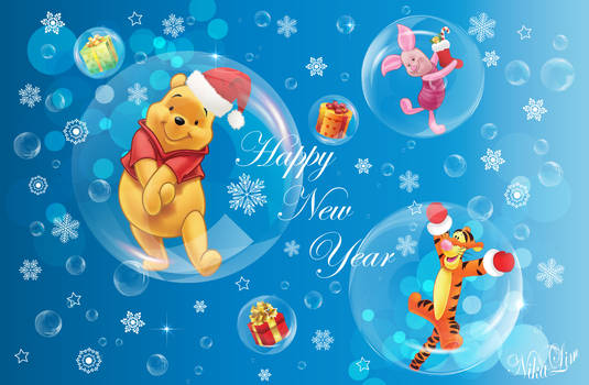 Happy New Year Card - Vector 100%