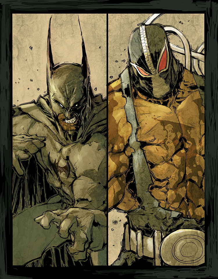 Batman vs Bane by scabrouspencil