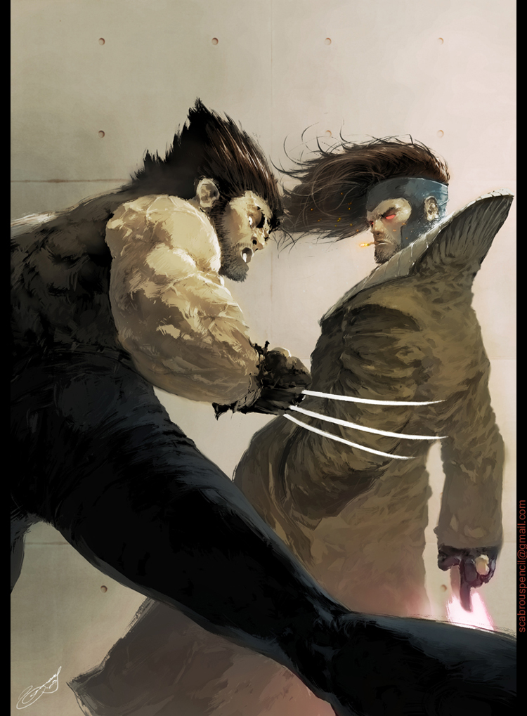 Wolverine and Gambit by scabrouspencil