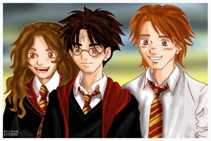 Hermione Harry Ron by Yamatoking