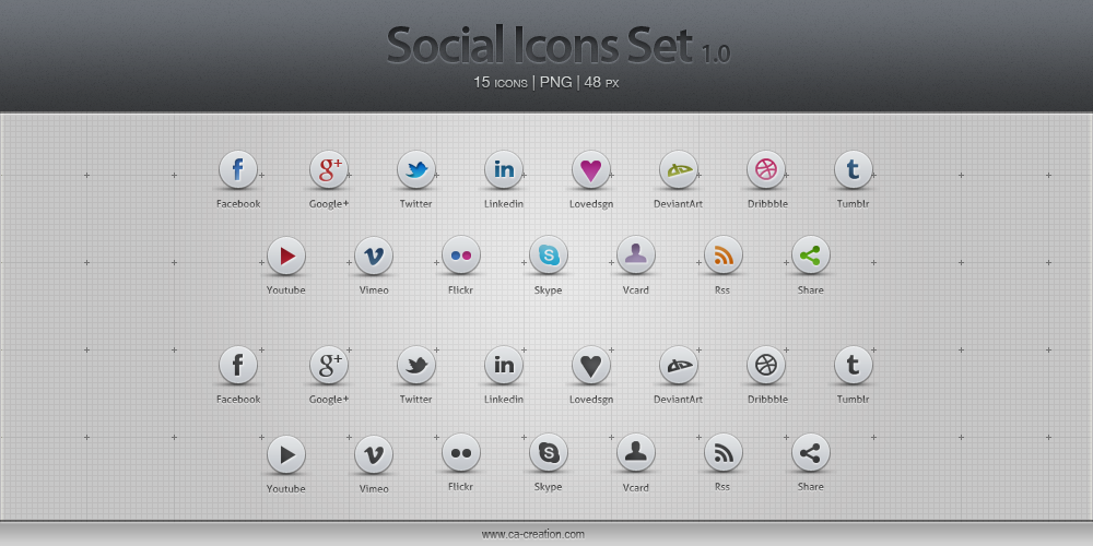 Social Icon Set 1.0 by InfinityK4fx