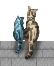 Two Cats By Krislw by BobWizardVilligr