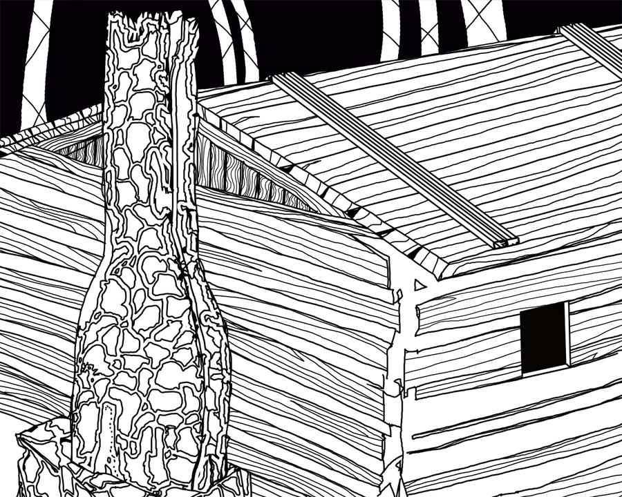 Celtic Cabin 2 line art by Jaganshye