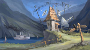 House With Antennas by Grafikwork
