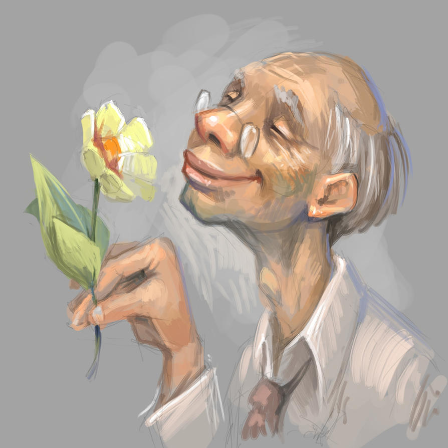 Old man with a flower. Speed paint with Krita. by Grafikwork
