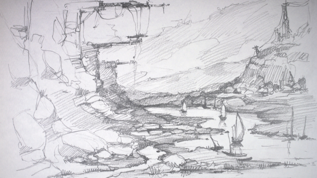 Landscape with boats. by Grafikwork