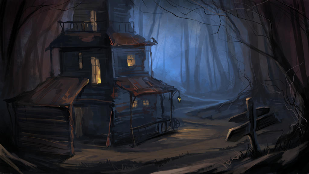 Old house in the forest by Grafikwork