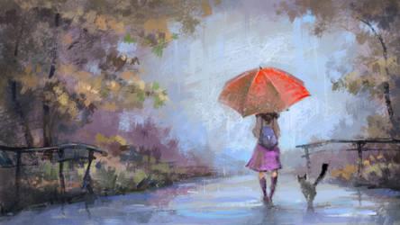 Red Umbrella by Grafikwork