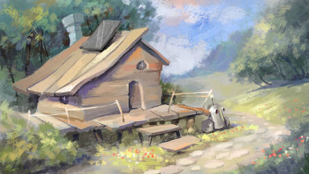 Landscape with one small house by Grafikwork