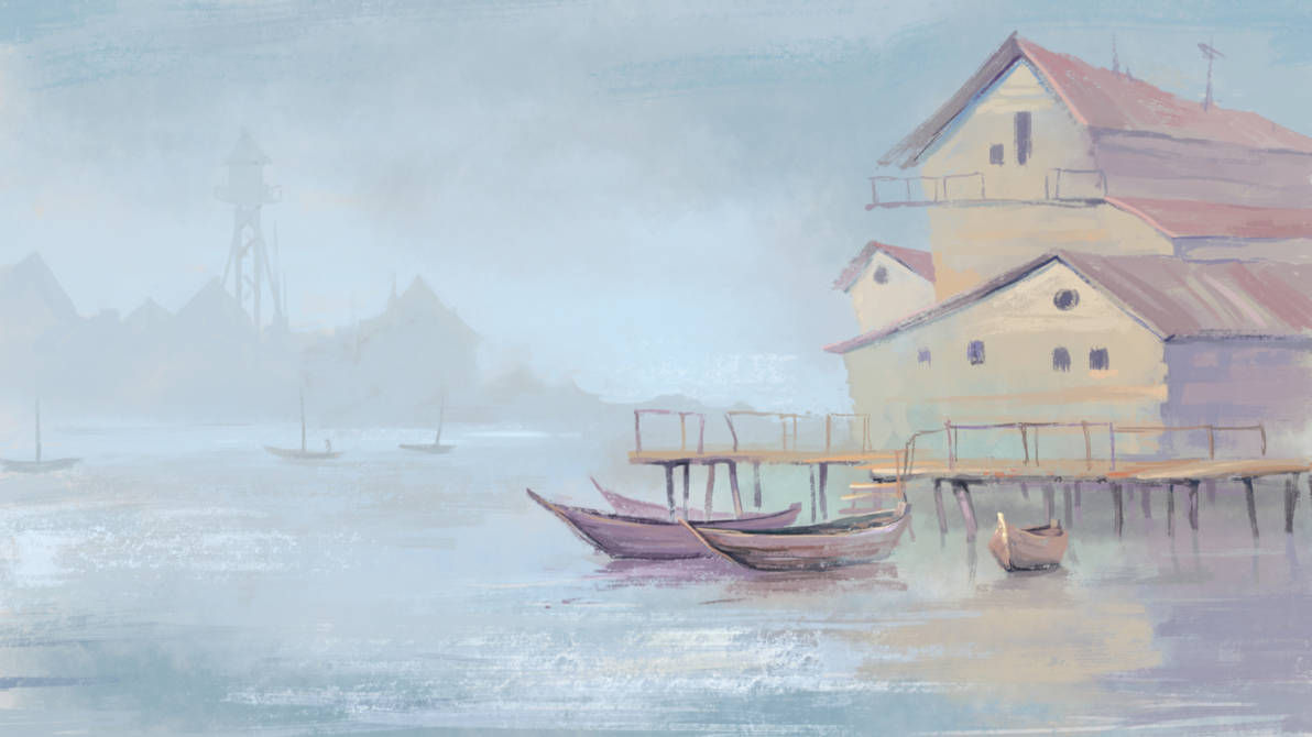 River landscape with boats and houses by Grafikwork