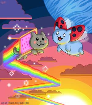 Nyan Cat and Catbug BFFs
