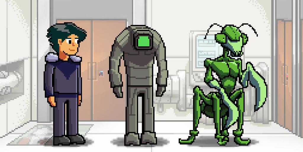 Human, Engi, and Mantis by Wonderwig