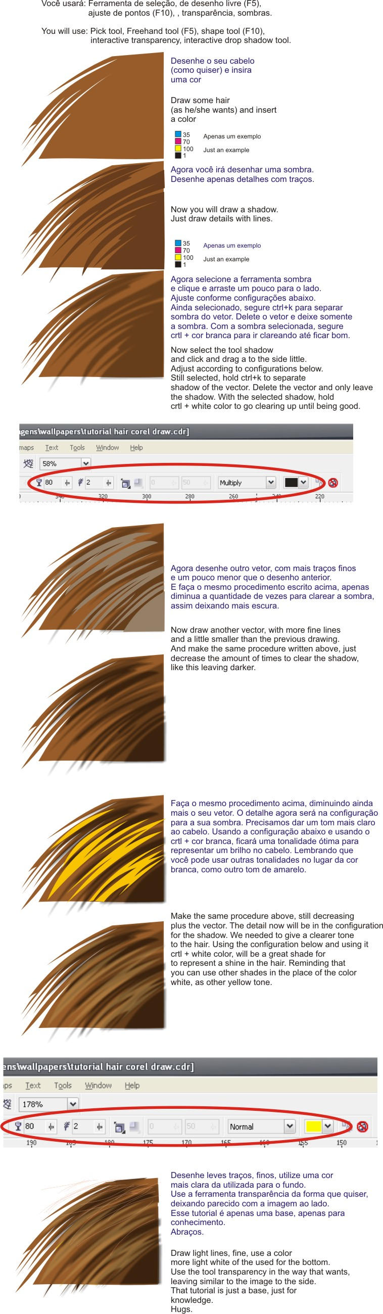 hair tutorial on corel Draw X3 by Alzir