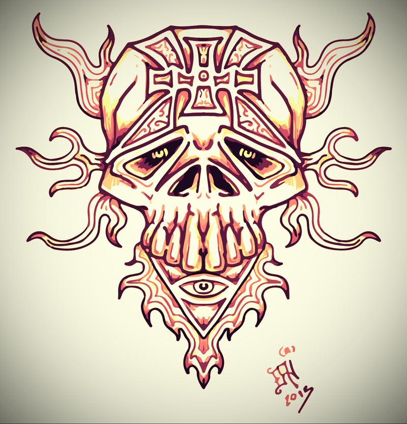 sad skull tattoo by nikolass