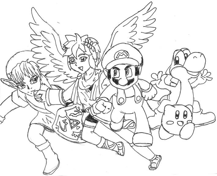 Super Smash Bros Tea Smash Bros Brawl Coloring Pages