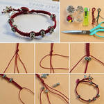 Square Knot Braid Bracelets with Beads for Lovers