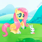 Fluttershy and Angel with matching slippers