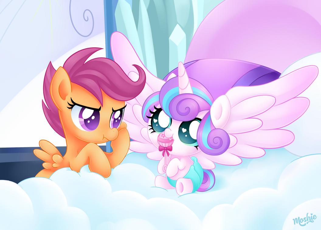Princess Flurry Heart and Scootaloo