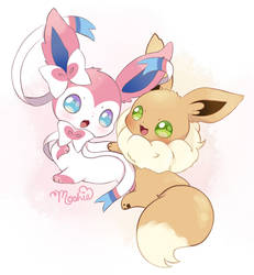 Sylveon and Eevee by iMoshie