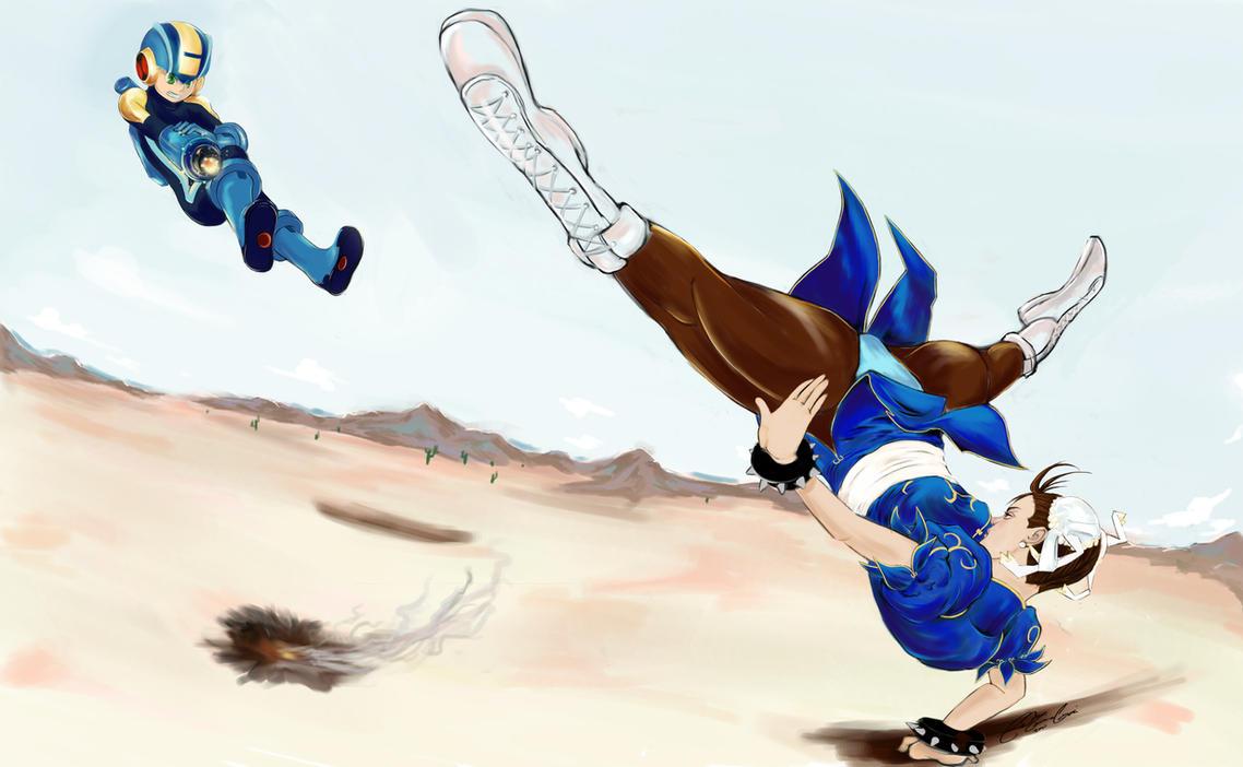 Chun-Li VS. MegaMan by linkfreak131