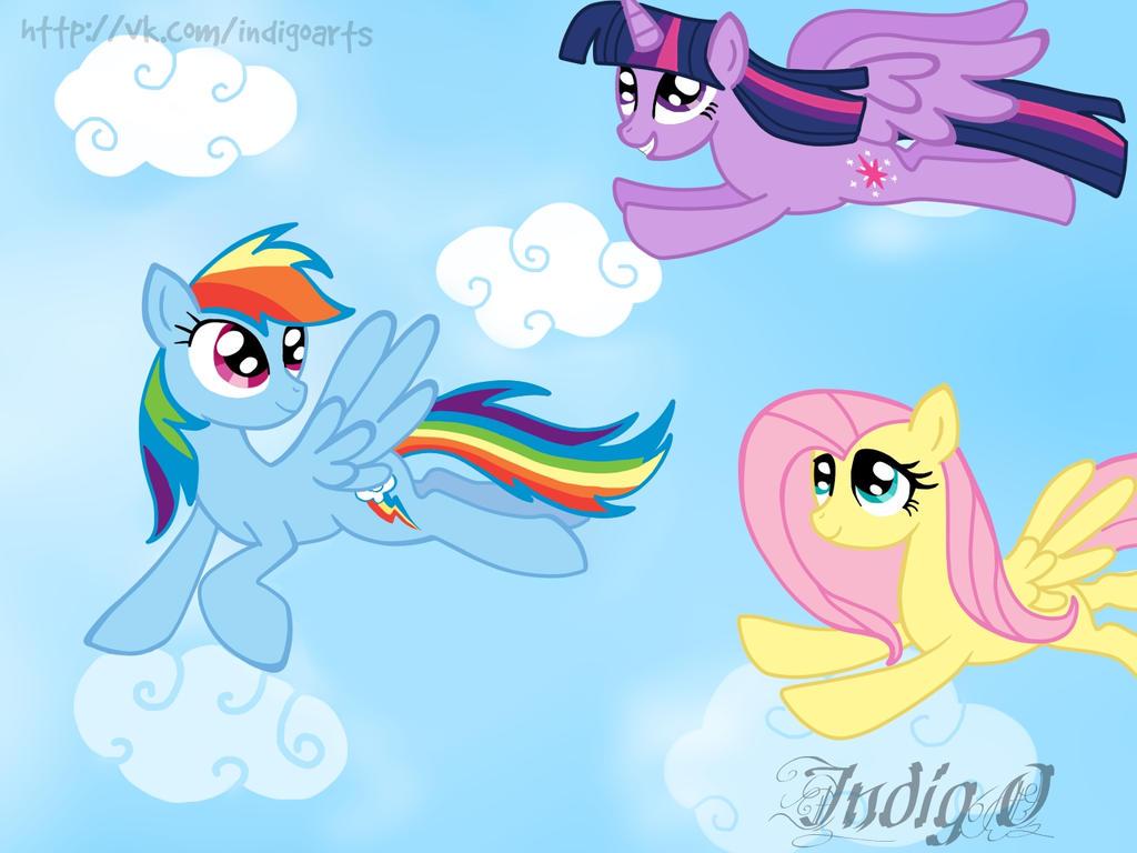 Fluttershy,Rainbow Dash,Twilight Sparkle by Wawern on deviantART