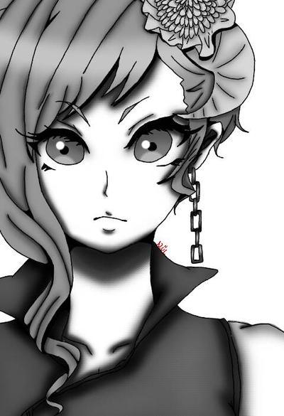 Chica Anime En Blanco Y Negro By Nagato12345 On DeviantArt