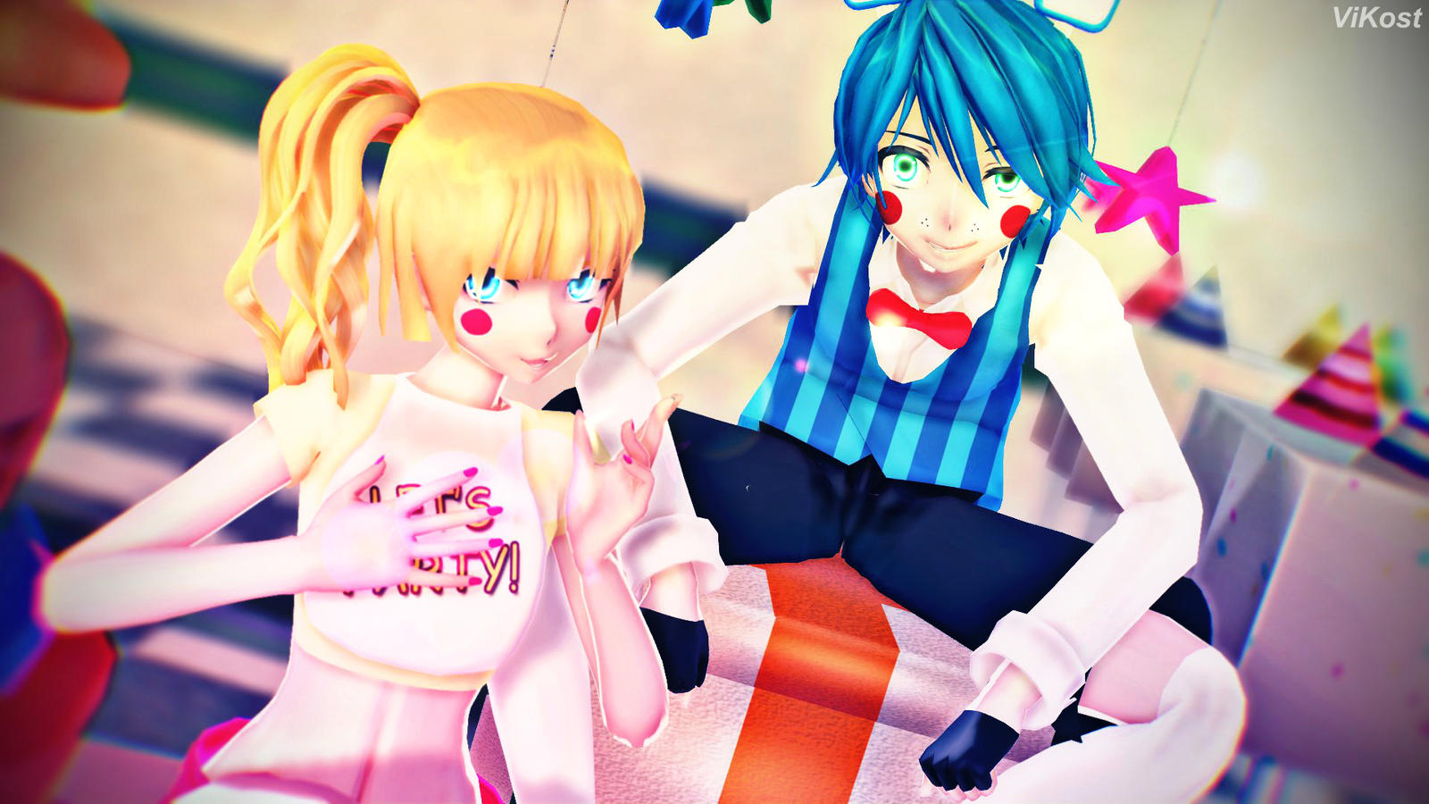 (MMD-FNAF) Toy Chica And Toy Bonnie By ViKost6 On DeviantArt