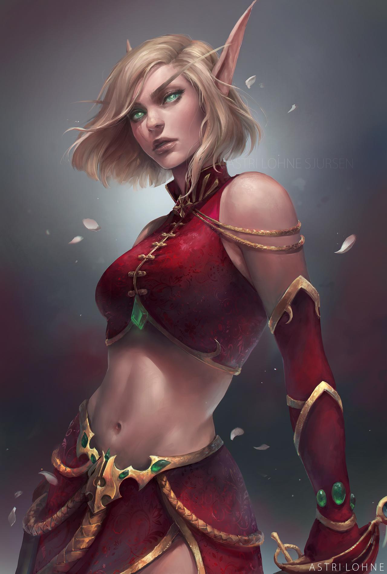 Blood elf lady fucks thumbs