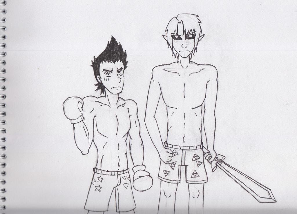 Little Mac & Dark Link in Boxers by Dante6499