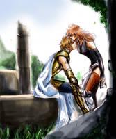 Aioria and  Marin by akinominori