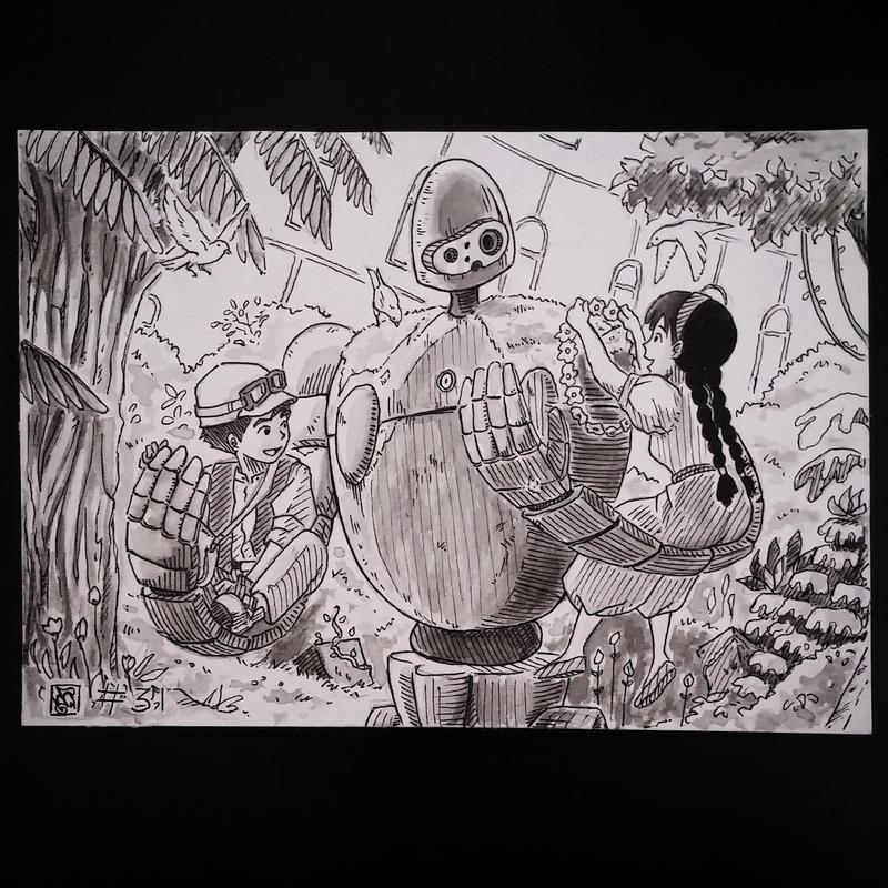 InkTober Day 31 --- Tenku no Shiro Laputa. by meriimerodii