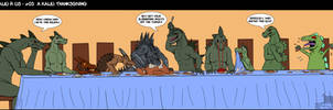 -A kaiju Thanksgiving- by BlueRavenfire