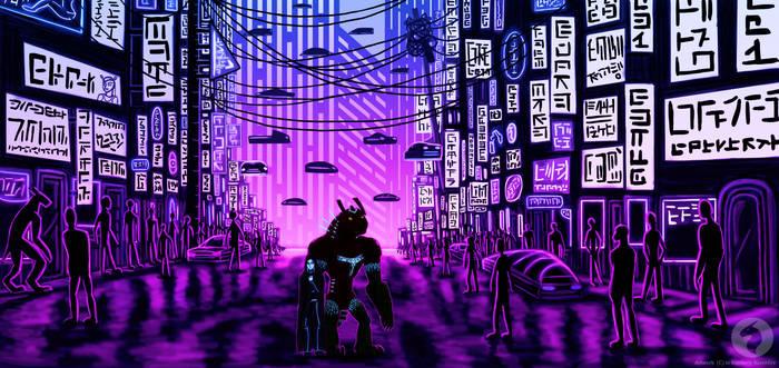 Alien cyberpunk city