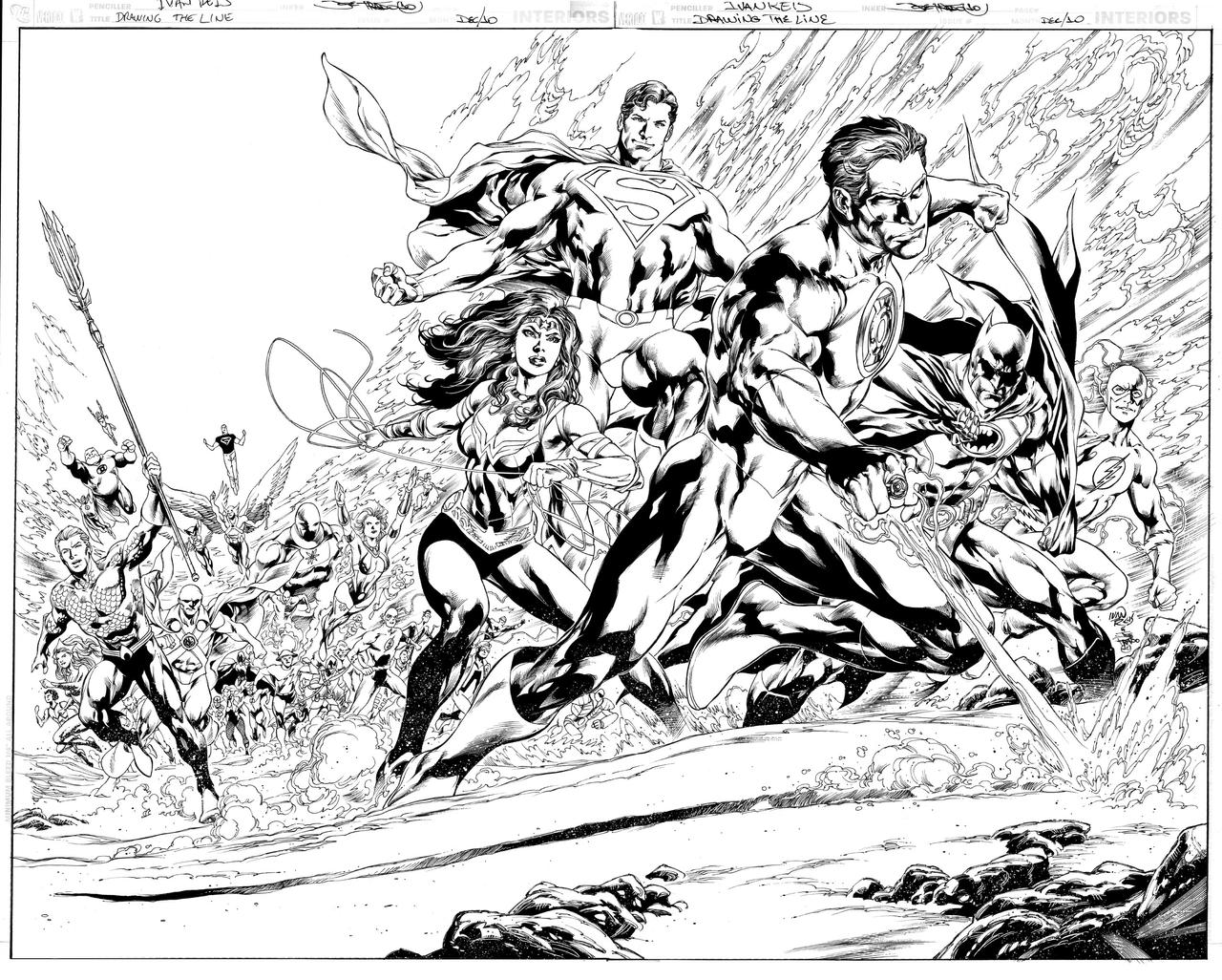 DC DRAWING THE LINE pinup by JoePrado2010