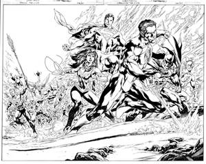 DC DRAWING THE LINE pinup