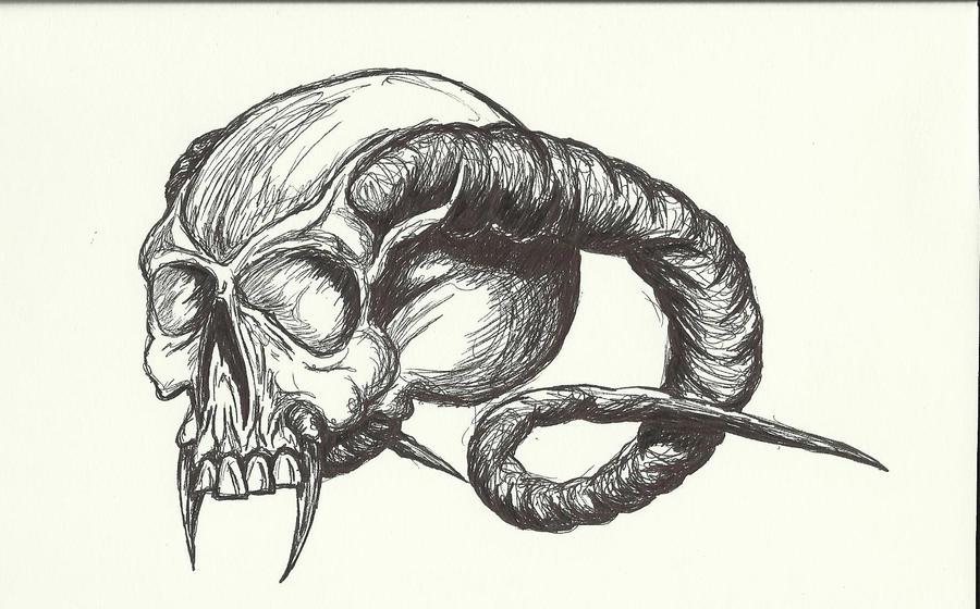 How to draw horned skull