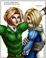 'Hatless' - Link and Sheik by GawainesAngel