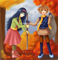 Fall Cleanup -Tomoyo + Sakura- by GawainesAngel