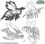 Bee mascot pencil designs