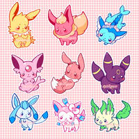 Eeveelutions by marikyuun