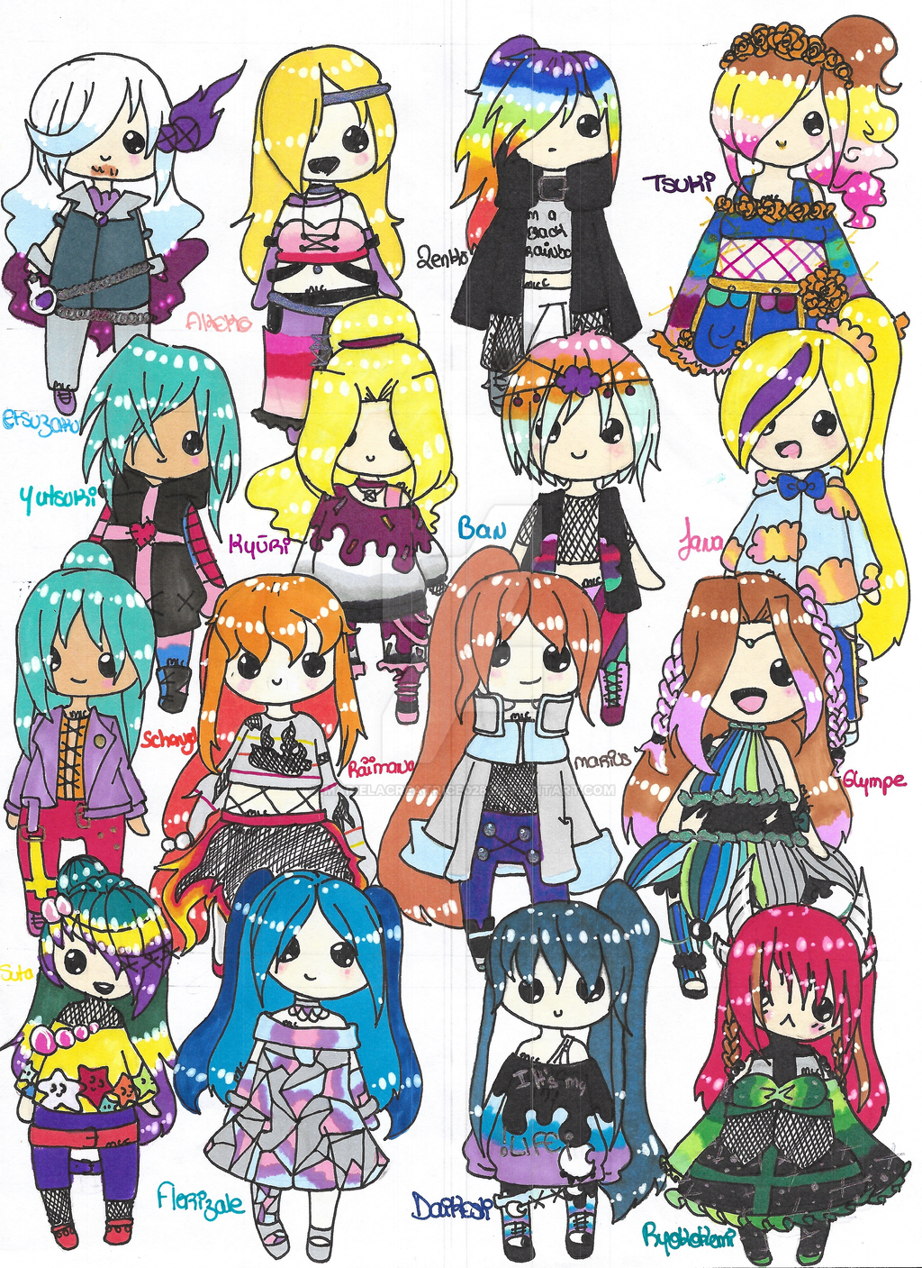 My characters in chibi mode -The End- by MarieLaCreatrice028
