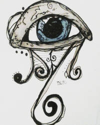 Ink and Watercolor Blue Eye