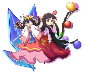 Princess Kaguya and the Fairy Queen by BlueRoundCherrys